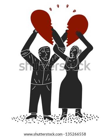 Couple holds halves of a divided heart - stock vector