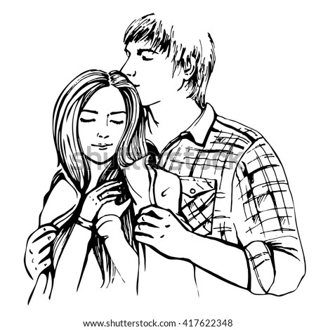 Couple hugging and flirting. Hand drawn vector illustration - stock vector