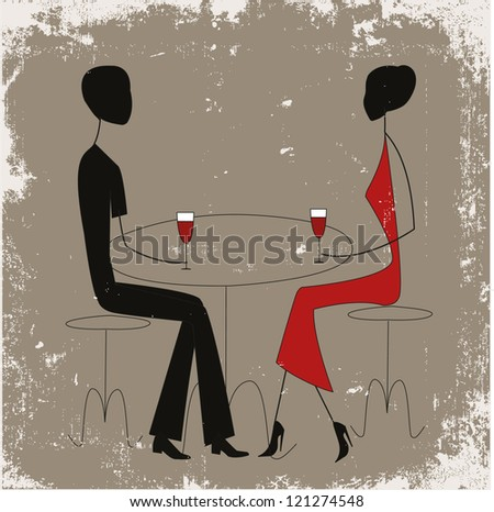 Couple in a restaurant, stick figures - stock vector