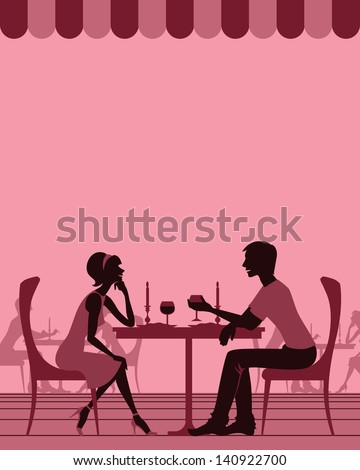 Couple in cafe - stock vector