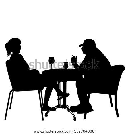 Couple in cafes. Silhouettes of people in urban life, vector illustration - stock vector