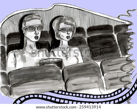 couple in 3d cinema wearing glasses- hand-drawn sketch - stock vector