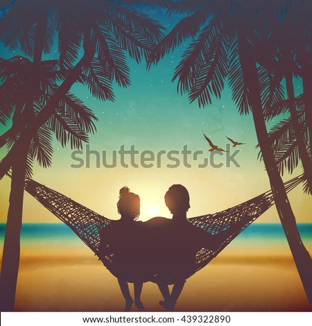 Couple in love at the beach on hammock. Inspiration for wedding, date, romantic travel card. Family - stock vector
