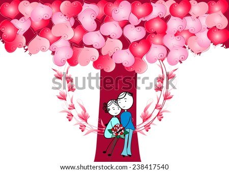 Couple in love.Boy and girl sitting on a swing with heart tree - stock vector