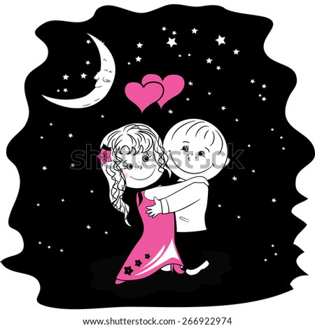 couple in love dancing at night, vector illustration  - stock vector