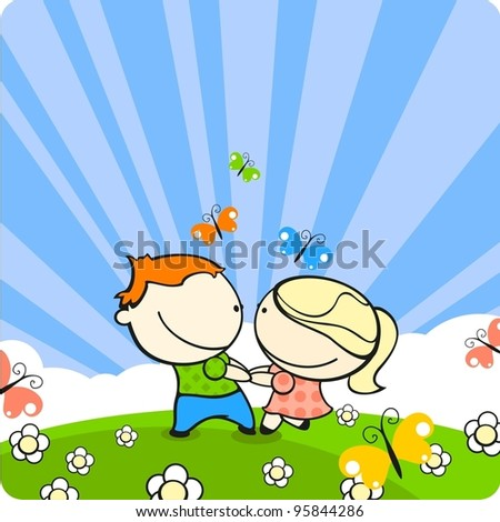 Couple in love dancing on a meadow - stock vector