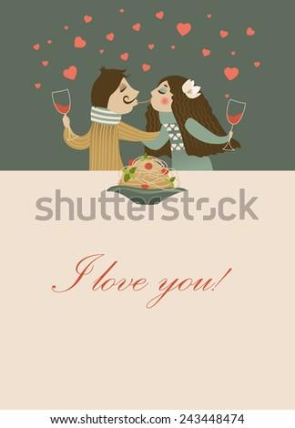 Couple in love eating spaghetti. Vector romantic card - stock vector