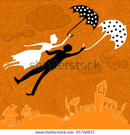 couple in love flying above the church and houses holding umbrellas