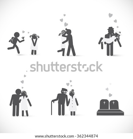 Couple in love from beginning to end. Love story of couple in different life ages and situations  - stock vector