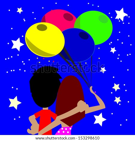 couple in love, hugging, looking at the starry sky, woman holding four balloons