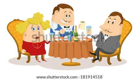 Couple in love in a restaurant. Respectable gentleman and fat lady in red raising a toast, while waiter offering menu, funny cartoon illustration. Vector - stock vector