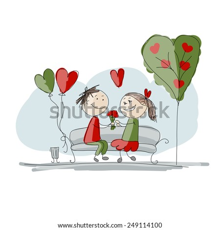 Couple in love kissing, valentine sketch for your design, vector illustration - stock vector