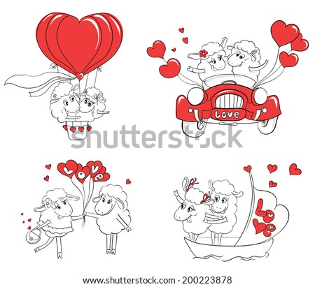 Couple in love. Set of funny pictures happy sheep. Idea for greeting card with Happy Wedding or Valentine's Day. Cartoon doodle vector illustration - stock vector