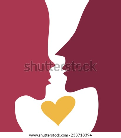 Couple in love silhouette Valentine's Day card. Kiss Valentines banner. Male Female silhouette with heart - stock vector