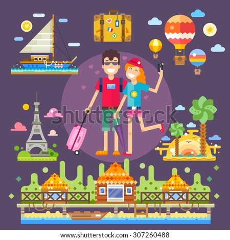 Couple in love, travels the world.  Pleasant romantic trip to the best attractions, memories of youth. Vector flat illustration - stock vector