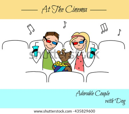 couple in the sketch style. Couples playing with their dog, sitting at the cinema. Boyfriend with girlfriend in love. hand drawn Vector illustration - stock vector