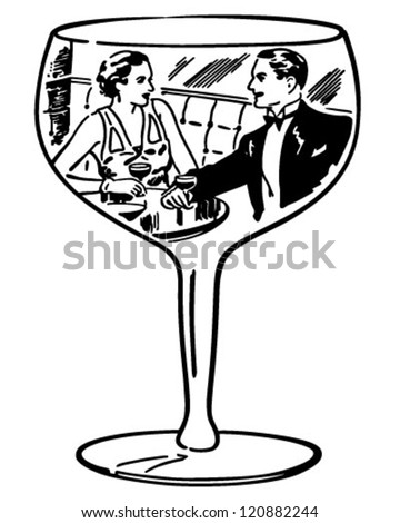 Couple In Wine Glass - Retro Clipart Illustration - stock vector