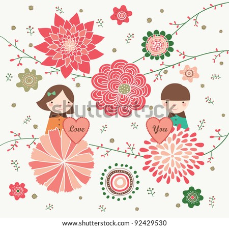 Couple is Holding Love Shape in Flower Garden. Valentine's Day Design. - stock vector