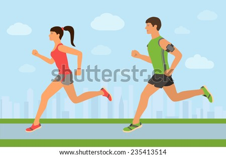 Couple jogging outside in the city. Runners training outdoors. - stock vector