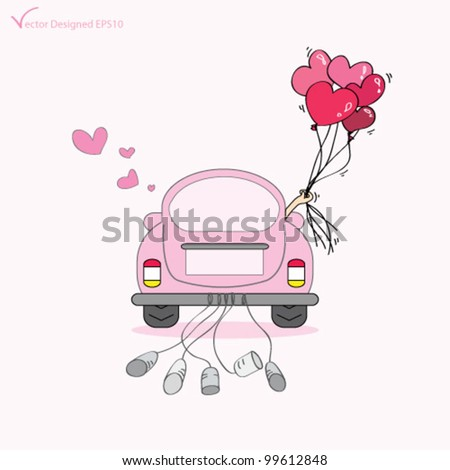 Couple just married on car driving to their honeymoon and holding heart balloons - Vector - stock vector