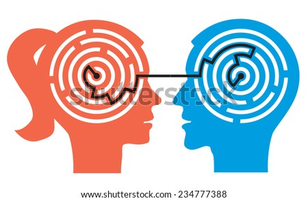 Couple labyrinth in the heads. Female and male head silhouettes with maze symbolizing psychological processes of understanding. Vector illustration.  - stock vector