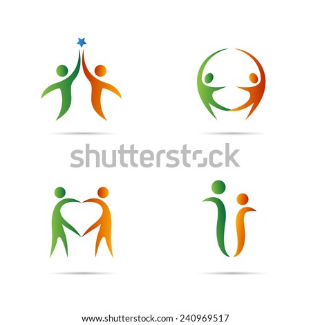 Couple logo vector design isolated on white background.