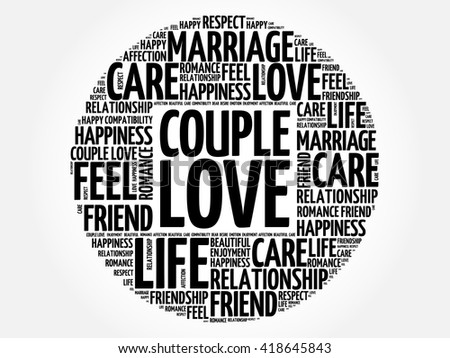 Couple love circle word cloud collage concept