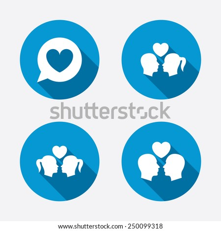Couple love icon. Lesbian and Gay lovers signs. Romantic homosexual relationships. Speech bubble with heart symbol. Circle concept web buttons. Vector - stock vector