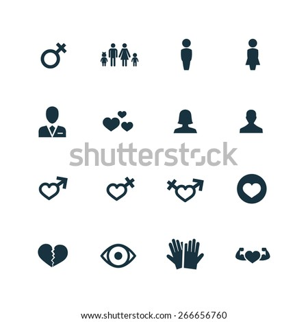 couple, love icons set on white background