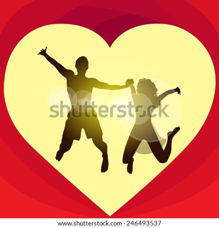 Couple love red heart shape jump valentine day holiday, Valentine's gift card vector illustration