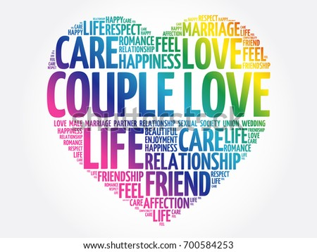 Couple Love Word Cloud Collage Heart Concept Background