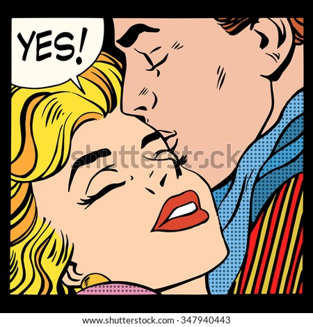 Couple love Yes pop art retro style. A man kisses a woman. Relationship and romance