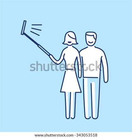 couple making selfie together with stick vector photography and camera linear icon and infographic | illustration of gear and equipment for professional photographers and amateurs on blue background - stock vector