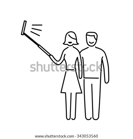 couple making selfie together with stick vector photography and camera linear icon and infographic | illustration of gear and equipment for photographers black isolated on white background - stock vector