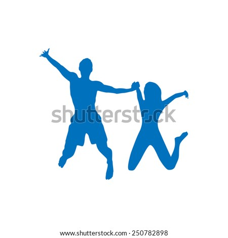 Couple man and woman holding hands jump silhouette, vector illustration - stock vector