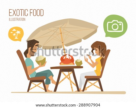 Couple man and woman sitting in a tropical street cafe, eating exotic food. - stock vector