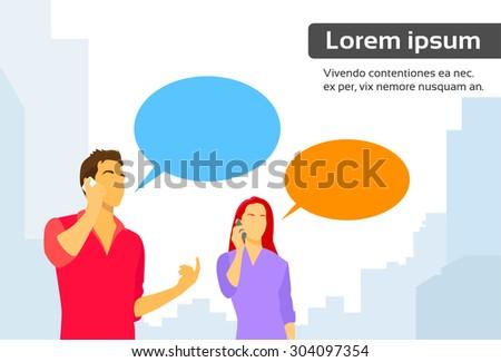 Couple Man and Woman Smart Phone Talk Chat Box Communication Flat Vector Illustration - stock vector