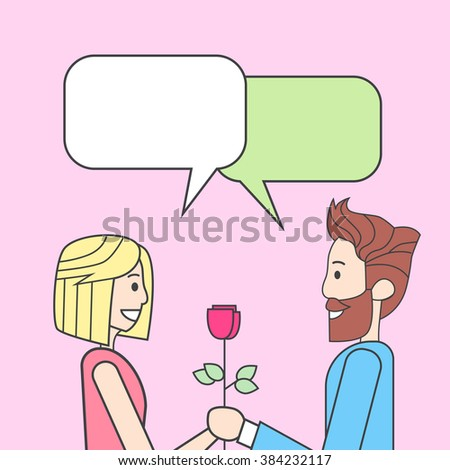 Couple Man Give Woman Rose Flower Chat Bubble Thin Line Vector Illustration