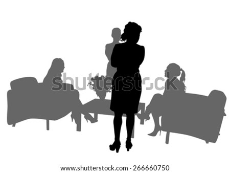 Couple of beauty women in suit on white background - stock vector