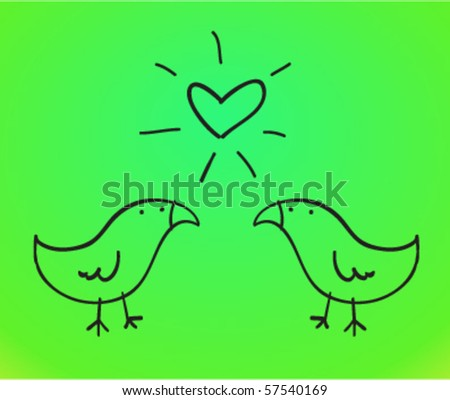 couple of birds in love - stock vector