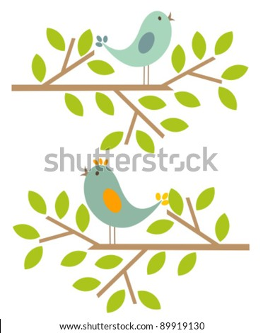 Couple of birds singing spring song. Vector illustration - stock vector
