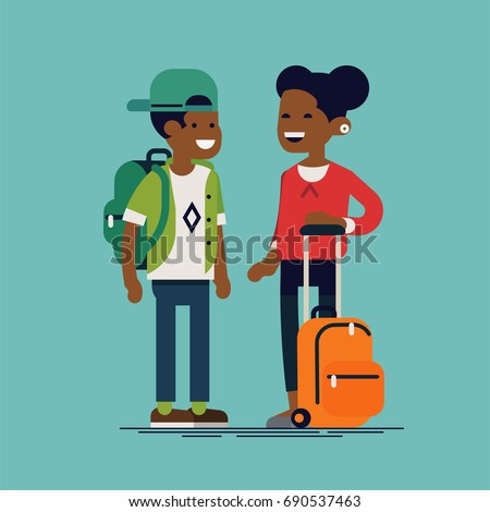 Couple of casually clothed african school kids with backpacks ready for school year. Flat vector character design on elementary school students