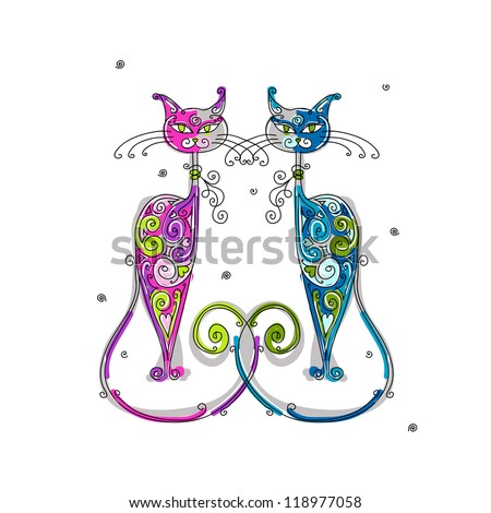 Couple of cats silhouette for your design - stock vector
