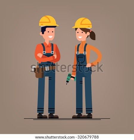 Couple of construction workers vector flat characters | Young man and woman friendly smiling workers in workwear overalls standing isolated | Building male and female specialists ready for work - stock vector
