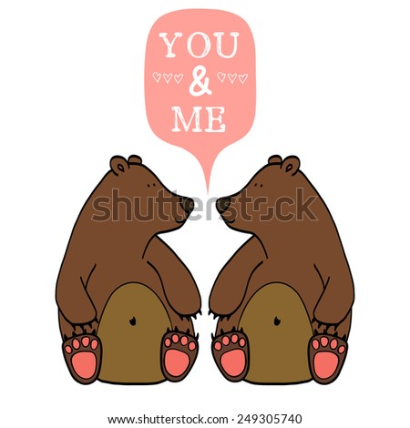 Couple of cute cartoon bears. Hand drawn childish characters with speech bubble for the text. - stock vector
