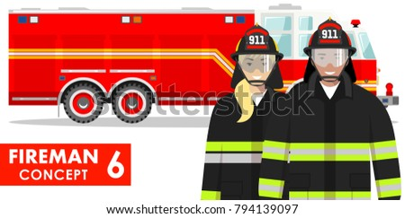 Couple of fireman and firewoman in uniform standing together on background with fire truck in flat style on white background.
