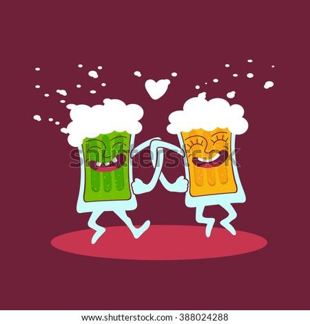 Couple of funny cartoon glasses of beer dancing. Beer friends vector icon. Dancing cartoon beer vector object. Beer friends vector element for your design. Beer icon. Beer logo. - stock vector