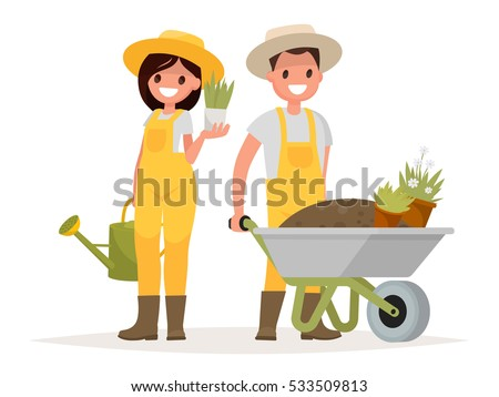 Couple of gardeners. Man with wheelbarrow of earth, a woman holding a flower pot and watering can. Vector illustration in a flat style