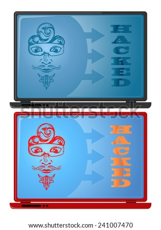couple of hacked laptop illustration isolated on white - stock vector