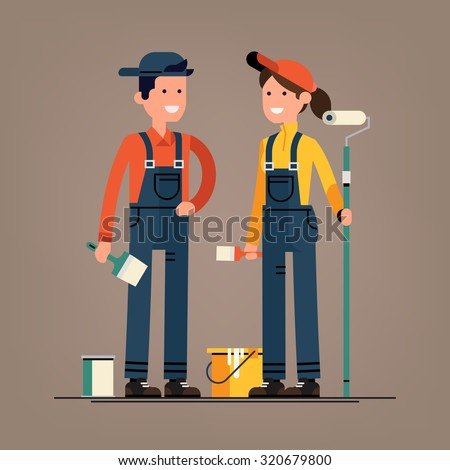 Couple of house painter vector flat characters with paint equipment | Young man and woman friendly smiling workers in workwear overalls standing isolated holding brushes and roller - stock vector